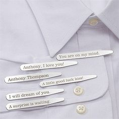 Personalized Dress Shirt Collar Stays - Secret Message PersonalizationMall.com