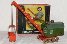 Old Biller Excavator Crane Grab dredger Tin toy Sheet metal ORIGINAL PACKAGE in Toys & Games, Vintage & Classic Toys, Tinplate/Penny Toys   eBay!