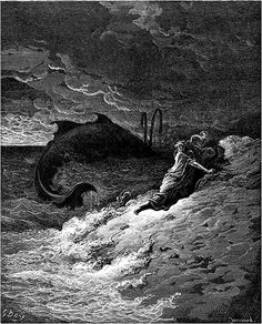 Jonah and the Whale - intaglio etching by Gustave Dore