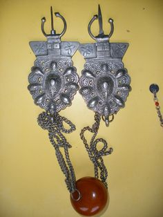 Fibule Collier Ambre Bijou Berbere Ancien Argent Maroc Maghreb Ethnique Islam | eBay