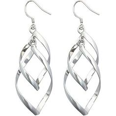 Fashionable Sterling Silver Double Marquise Loops Design Earrings