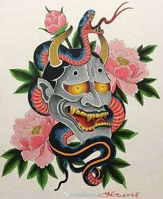 Hannya Mask Tattoo, Hanya Tattoo, Sak Yant Tattoo, Japanese Hannya Mask, Japanese Mask Tattoo, Chinese Tattoo Designs, Old School Tattoo Designs, Devil Tattoo, Traditional Japanese Tattoos