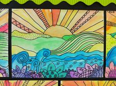 Learn about foreground, middle ground, and background - pencil, sharpie, watercolors.