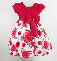Vestido de festa Infantil Vermelho Toddler Dress, Toddler Outfits, Baby Dress, Toddler Girl, Kids Outfits, Little Dresses, Little Girl Dresses, Girls Dresses, Frocks For Girls