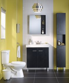 Add style to your #bathroom with a contemporary light #fixture. | Offrez un air de jeunesse à votre salle de bains avec un #luminaire aux lignes actuelles. #salledebains