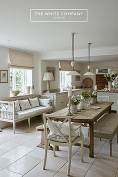 A capsule of calm, this ode to pale interiors by The White Company's founder, Chrissie Rucker, is testament to the power of neutrals. The book is a masterclass in using white to highlight texture, natural light and decorative details: the Open Plan Kitchen Dining Living, Living Room Kitchen, Home Decor Kitchen, Country Kitchen, Kitchen Interior, Home Kitchens, Kitchen Design, Country Bathrooms, Country House Interior