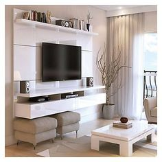 Create a stylish theatrical vibe for your room with this Manhattan Comfort City Floating Wall Theater Entertainment Center in Maple Cream and Off White. Shop Manhattan Comfort City Floating Wall Theater Entertainment Center with great price, The Classy Ho Tv Cabinet Design, Tv Wall Design, Modern Tv Cabinet, Modern Tv Wall, Modern Shelving, Living Room Designs, Living Room Decor, Dining Room, Tv Wall Ideas Living Room