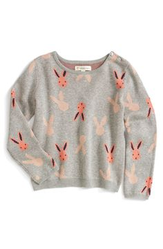 Too cute! Love the pink bunnies on this grey sweater.