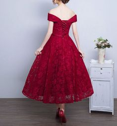Red Off The Shoulder Party Dress,Tea Length Lace Homecoming Dress - Thumbnail 1