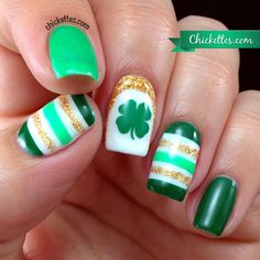 Chickettes.com St. Patrick's Day Nail Art 2014
