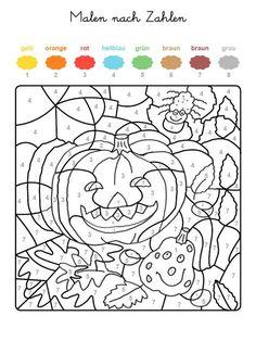 Ausmalbild Malen nach Zahlen: Halloween: Kürbisse ausmalen kostenlos ausdrucken