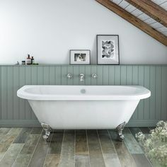Admiral 1685 Back To Wall Roll Top Bath + Chrome Leg Set - Victorian Plumbing Back To Wall Bath, Baños Shabby Chic, Design Japonais, Roll Top Bath, Victorian Bathroom, Duplex, Family Bathroom, Warm Bathroom, Bathroom Marble