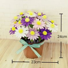 Handmade Daisies in a Pot [DIY Kit OR Finished Item] - Eleturtle
