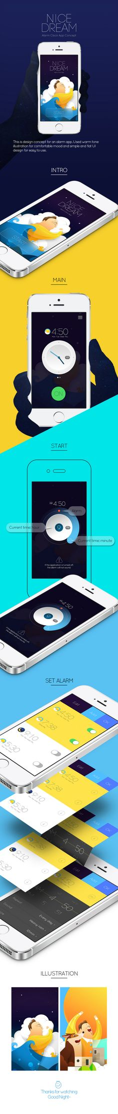 Alarm app Concept / Nice dream : This is design concept for an alarm app. Used warm tone illustration for comfortable mood and simple and flat UI design for easy to use.