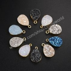 Buy Now Wholesale Teardrop Gold Plated Titanium Geode Crystal...