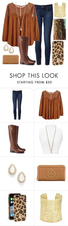 """""""take it on the run"""" by kierstinmoyers ❤ liked on Polyvore featuring Paige Denim, H&M, Tory Burch, Kate Spade and Kendra Scott"""