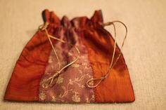 Drawstring Pouch with Gold String by HandmadeBySheetaluk on Etsy