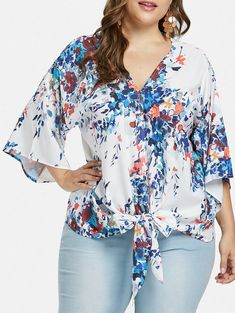 Plus Size Print Tie Waist Blouse blouses blouses blouses blouses outfit fall blouses fashion blouses casual and tops fashion plus size size clothing patterns size diy clothes size womens outfits size top Fall Fashion Trends, Autumn Fashion, Modelos Plus Size, Moda Plus Size, Bell Sleeve Blouse, Plus Size Blouses, Blouse Styles, Types Of Fashion Styles, Plus Size Outfits