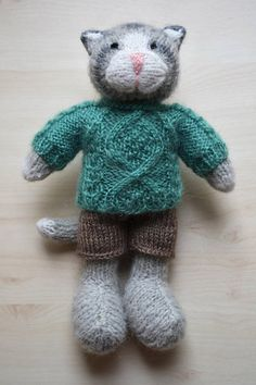 Knitted Cat Boy Toy Hand Knit Cat Cute Cat Doll For Boys