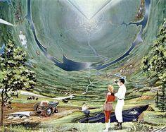retro future 1950s   Disney   To roidal Space Colony of the Future (1982)                                                                                                                                                     More