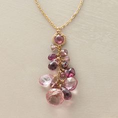 "IN PRAISE OF PINK NECKLACE -- Dana Kellin's stunning freefall of pink-hued stones features garnet, quartz, topaz, hydro quartz and crystal gems. 14kt goldfill; lobster clasp. Handmade in USA. 16-1/2""L with 1-1/2"" drop."