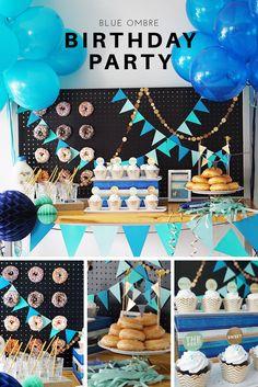 Birthday boy blue ombré birthday party dessert table, diy for donut wall.