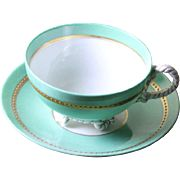 Collector's Tea Cup & Saucer, Pastel Green with Beaded Gold Band