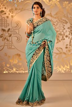 A lovely Tiffany blue Satya Paul sari.