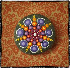 Jewel Drop Mandala Painted Stone- Summer Fireworks