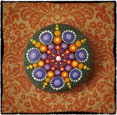 Jewel Drop Mandala Painted Stone- Summer Fireworks