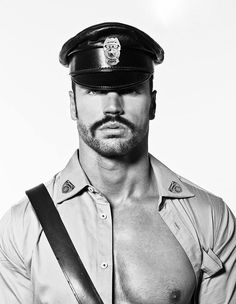 Marco Otero, in 'A Tribute to Tom of Finland' by Salvador Pozo & Peter Versnel, (c) Male Photography Europe Toms, Tom Of Finland, Male Photography, Men In Uniform, Leather Cap, Black Leather, Male Beauty, Handsome Boys, Leather Fashion