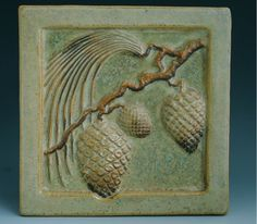 MISSION ARTS & CRAFTS TILE; pine cones; craftsmand bungalow; arts and crafts tiles