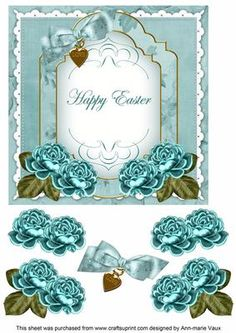 Teal Rose Happy Easter Fancy 7in Decoupage Topper on Craftsuprint - Add To Basket!