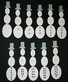 number sense snowman activities - maybe with a 10 frame instead of the word for preschool.