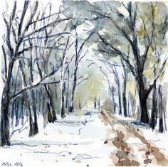 """Snow alley. Watercolour painting by Antje Gilland, 6 x 6""""."""