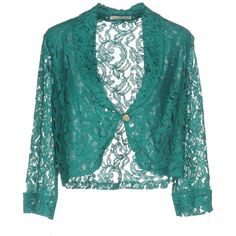 Maria Bellentani Blazer ($74) ❤ liked on Polyvore featuring outerwear, jackets, blazers, green, lace jacket, green blazers, blue lace jacket, three quarter sleeve blazer and blazer jacket