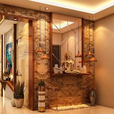 Image may contain: indoor Pooja Room Design, Foyer Design, Lobby Design, Entrance Design, House Design, Living Room Partition Design, Room Partition Designs, Bedroom False Ceiling Design, Living Room Sofa Design