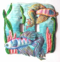 Siamese Fighting - Betta Fish Switchplate - Decorative Tropical Design . $17.95. Siamese Fighting Fish - Betta Fish - Designer switchplate. Decorative switchplates for your your tropical home decor. Very detailed hand painting. You will be pleased with the quality. All of the details of this tropical fish light switchplate have been hand hammered out to create realism to the piece. This is not a flat piece. Hand painted, handcrafted metal tropical fishdecor...
