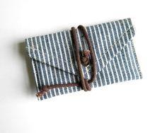 Stripe Denim Wrap  ID Wallet. $9.00, via Etsy.