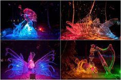 No Alaska, existe um campeonato chamado World Ice Art Champioships, onde são feitas esculturas de gelo.  Nesse concurso existem várias categorias, entre elas a Single Block, ou seja, aquelas que só podem ser feitas utilizando um único bloco de gelo. Ao final ela é toda iluminada por luzes com LED, para que o júri possa avaliar.  Demais!
