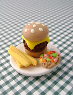 Miniature Dollhouse Burger and Fries