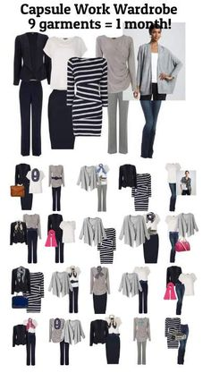 Capsule Work Wardrobe - 9 outfits = 1 month at the office! #capsule wardrobe #work wardrobe