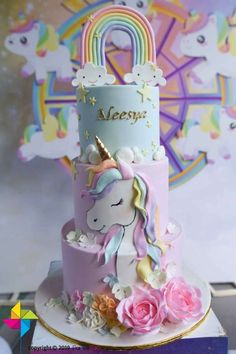 Don't miss this gorgeous unicorn and rainbow birthday party! The cake is amazing!  See more party ideas and share yours at CatchMyParty.com #catchmyparty #partyideas #unicorns #unicornparty #girlbirthdayparty #unicorncake