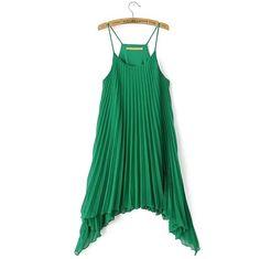 Western Style Solid Asymmetrical Slip Midi Pleated Dress $14.99