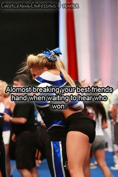 This reminds me so much of every single UDA competition for Dance Team in high school. I kinda miss it! Cheer Coaches, Cheer Stunts, Cheer Dance, Cheer Music, Cheer Qoutes, Cheerleading Quotes, Competitive Cheerleading, Cheerleading Flyer, Cheer Sayings