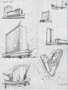 Perspectivas del Conjunto Aristos del Arquitecto Jose Luis Benlliure, 1959,
