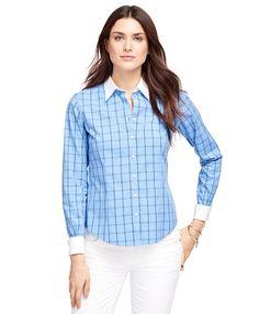 Non-Iron Fitted Windowpane Dress ShirtBlue