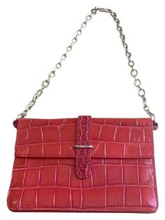Furla Crocodile Mini Chain Red Leather Shoulder Bag 65% off retail d7847eaae402a