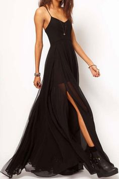This strap chiffon maxi dress makes me nostalgic for the 90s. | Oasap