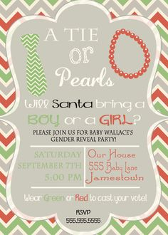 Christmas Gender Reveal Invite Ties and Pearls by DaxyLuu on Etsy, $15.00